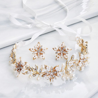 Bridal Floral Hair Vine with Matching Earrings Set of 3