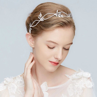 Silver Vine Bridal Headpiece with Sparkling Crystals