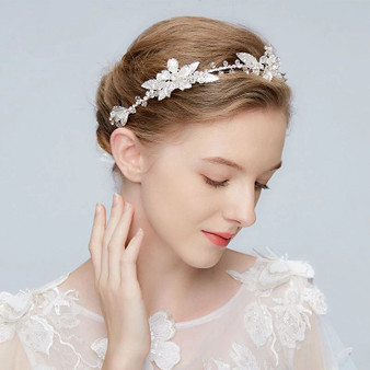 Silver Wedding Hair Vine with Lavish Floral Details