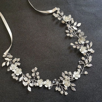 Bridal Floral Hair Vine with Silver Flowers