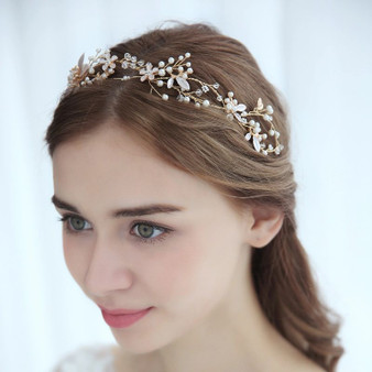 Gold Bridal Hair Vine with Porcelain Flowers