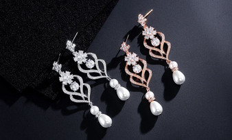 Chandelier CZ and Pearl Wedding Drop Earrings in Silver & Rose Gold