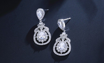 Clear CZ Crystal Drop Wedding Earrings - Silver, Rose Gold
