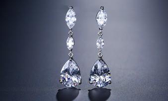 CZ Teardrop Wedding Earrings in Silver