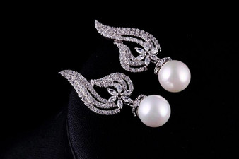 CZ and Pearl Wedding Earrings in Silver, Gold, Rose Gold