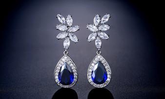 Blue CZ Crystal Leaf Design Teardrop Wedding Earrings