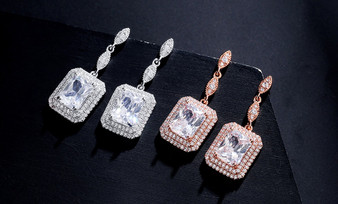Brilliant CZ Wedding Earrings in Silver, Rose Gold