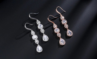 CZ Crystal Bridal Dangle Earrings in Silver, Rose Gold