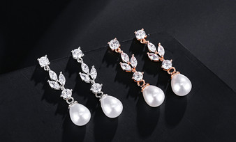Pearl and CZ Bridesmaid Earrings Silver or Rose Gold Plated