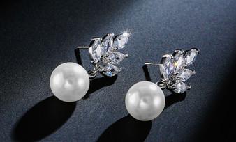 Pearl and CZ Wedding Earrings