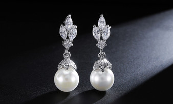 Pearl and CZ Wedding Drop Earrings in Silver