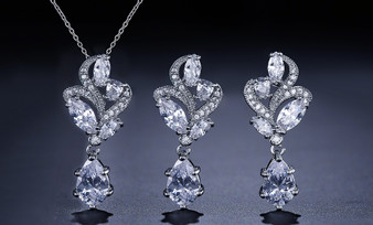 CZ Pendant Bridesmaid Jewelry Set in Silver, Gold, or Rose Gold
