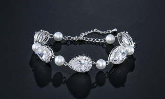 Pearl and CZ Bridal Bracelet in Silver