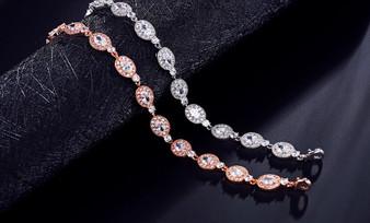 CZ Wedding Bracelet in Silver or Rose Gold