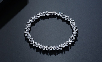 Affordable CZ Crystal Wedding Bracelet in Silver