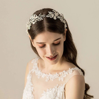 Rhinestone & Pearl Hand Wired Floral Wedding Hair Vine Tiara Headband