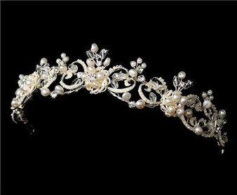 Couture Freshwater Pearl & Crystal Bridal Wedding Tiara WT1090