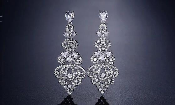 Silver or Rose Gold CZ Wedding Dangle Earrings