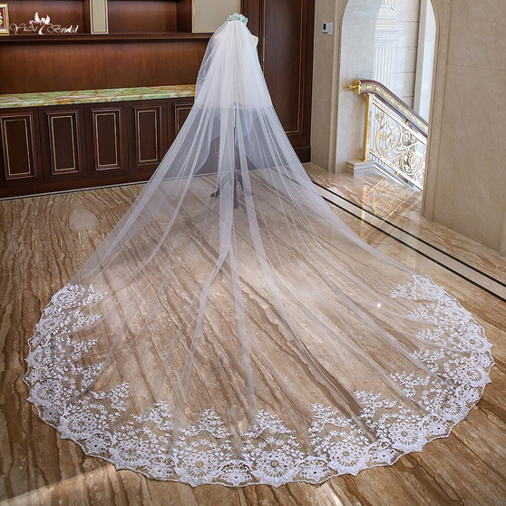 cathedral bridal veil with gold embroidered lace