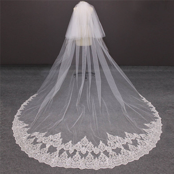cathedral veil with blusher and lace