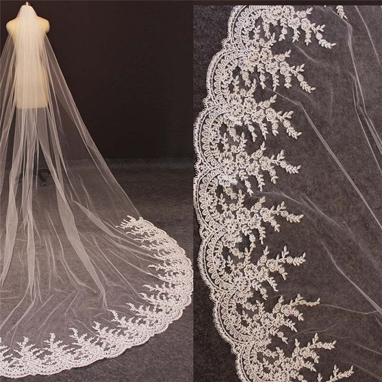lace edge cathedral veil
