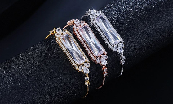 Dainty CZ Bridal Bracelet in Silver, Gold, or Rose Gold