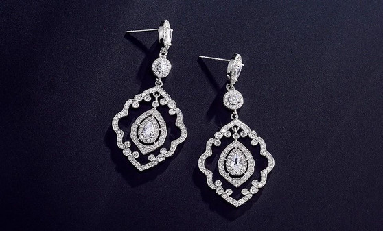Vintage Inspired CZ Dangle Wedding Earrings in Silver or Rose Gold Plating