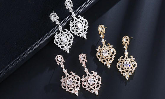 Arabella Crystal Dangle Wedding and Formal Earrings in Silver, Gold, or Rose Gold