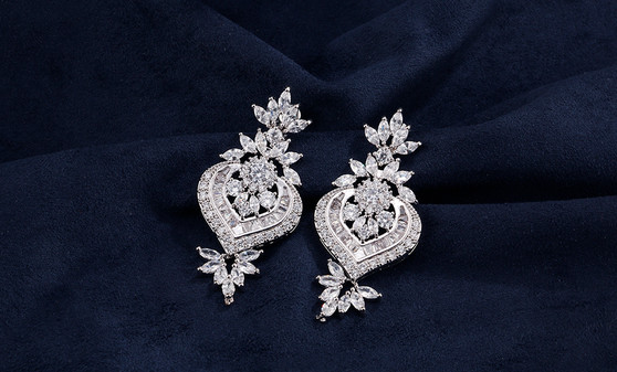 Cubic Zirconia Drop Wedding Earrings