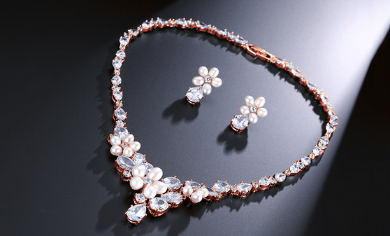 Pearl CZ Crystal Necklace Wedding Jewelry Set