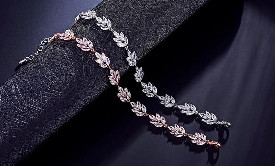 CZ Crystal Wedding Bracelet in Silver or Rose Gold