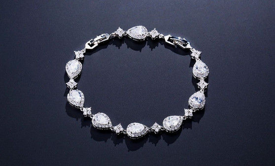 CZ Crystal Sparkling Bridal or Bridesmaid Bracelet Silver, Gold, Rose Gold