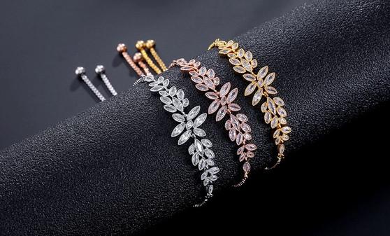 CZ Wedding Bracelet Silver, Gold or Rose Gold Plated