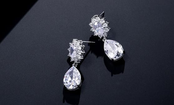 CZ Crystal Dangle Wedding & Prom Earrings in Silver