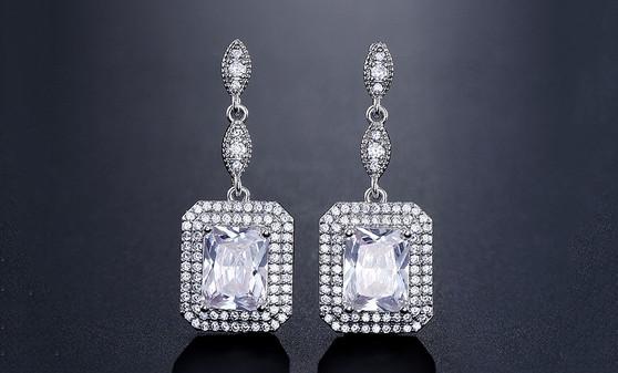 Brilliant CZ Wedding Earrings in Silver