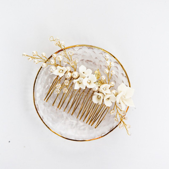 Elegant Floral Design Bridal Hair Comb with Pearls & Crystals