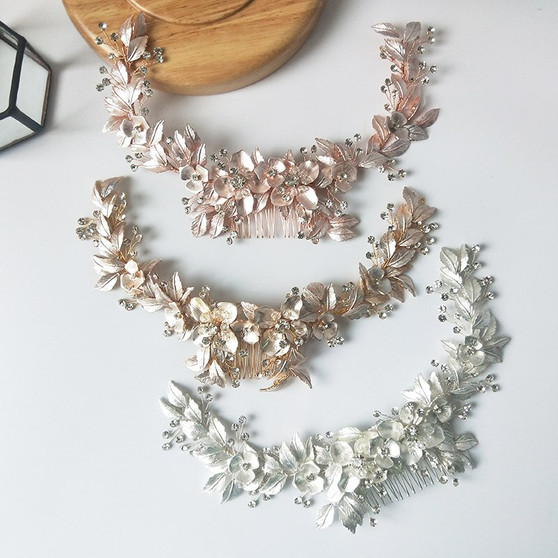 Beautiful Floral Vine Bridal Comb in Silver, Gold, Rose Gold