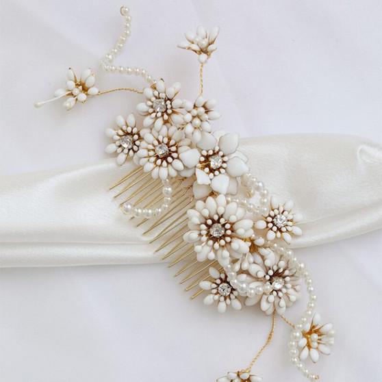 Gorgeous Metal Flower Pearl Wedding Hair Comb