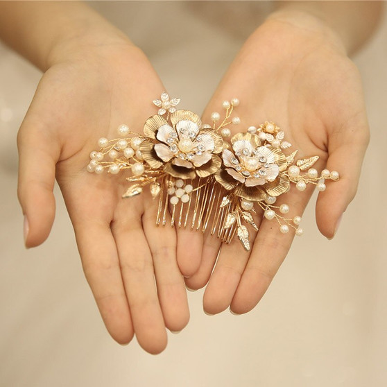 Gold Floral Pearl and Rhinestone Bridal Hair Comb