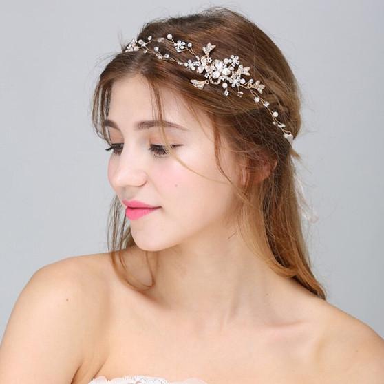 Handmade Bridal Hair Vine with Freshwater Pearls And Rhinestones