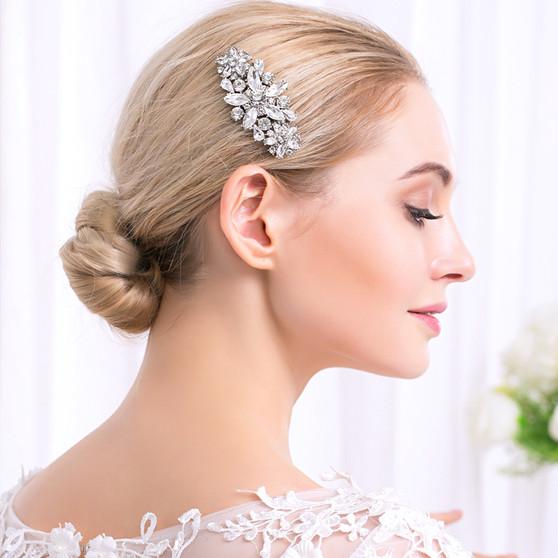Dazzling Rhinestone Floral Wedding Hair Comb