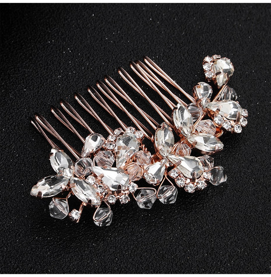Chic Floral Bridal Hair Comb in Silver, Gold, Rose Gold