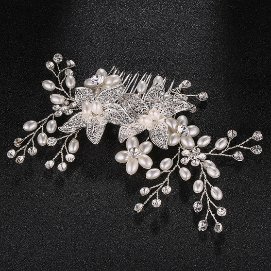 Freshwater Pearl and Rhinestone Vine Wedding Comb