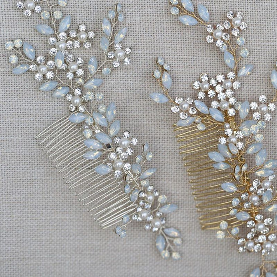 Rhinestone and Pearl Floral Bridal Hair Comb Silver, Gold