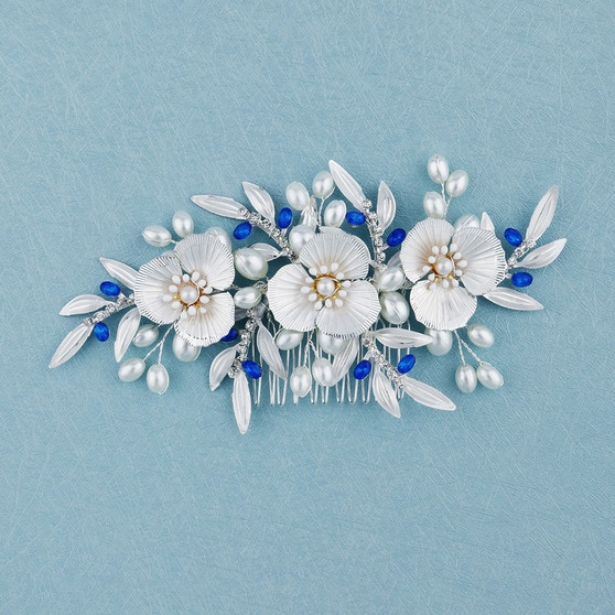 Flower Wedding Hair Comb with Blue Accents