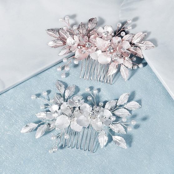 Bridal Hair Comb with Rhinestone Flowers in Silver & Rose Gold