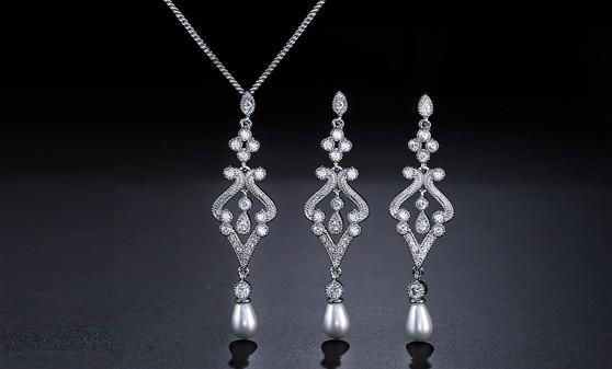 CZ Crystal Pearl Wedding Necklace & Earrings Set