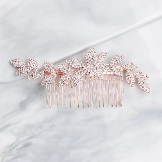 Elegant Rhinestone Leaves Bridal Hair Comb Silver Rose Gold