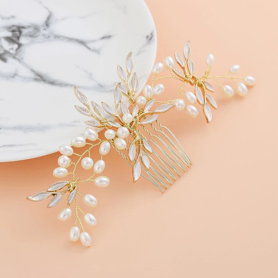 Pearl Vine Leaves Bridal Hair Comb