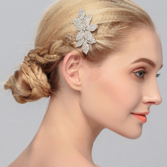 Delicate Floral Rhinestone Bridal Hair Comb Silver, Gold, Rose Gold